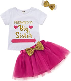 Toddler Baby Kid Girls Big Sister Outfits Short Sleeve T-Shirt Top+Tutu Skirt with Headband Clothing Set