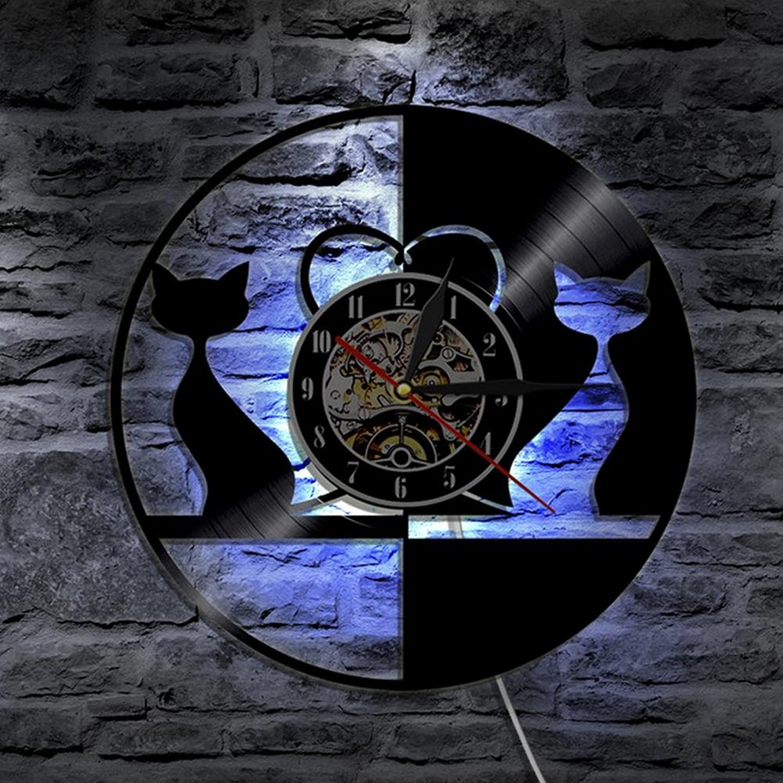 Lyq 12  Liebe Katzen Tiere Led Vinyl Uhr Mauer Licht Farbe Vernderung Modern Jahrgang Handarbeit Zuhause Dekor Kunst Lampe Fernbedienung Steuerung