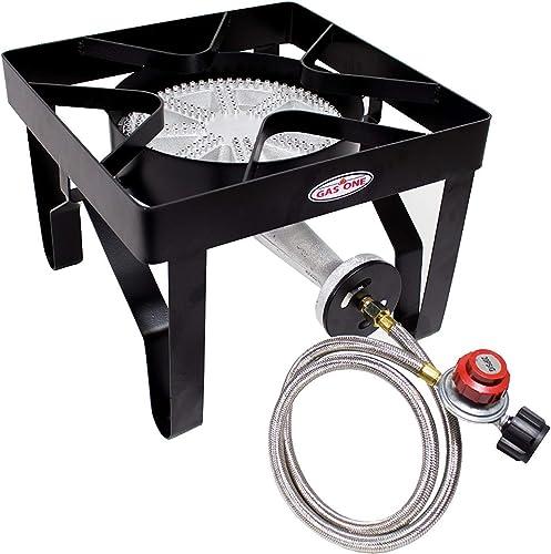 GasOne 200, 000 BTU Square Heavy- Duty Single Burner Outdoor Stove Propane Gas Cooker with Adjustable 0-20Psi Regulat...