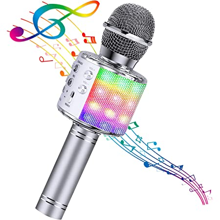 BlueFire Bluetooth 4 in 1 Karaoke Wireless Microphone with LED Lights, Portable Microphone for Kids, Girls, Boys and Adults (Silver)