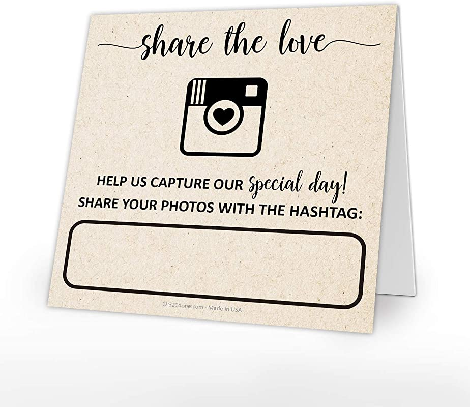 321Done Kraft Wedding Hashtag Signs Set Of 25 Tent Cards For Table Placecard Square Write On Large Snap Photo Share Love Made In USA