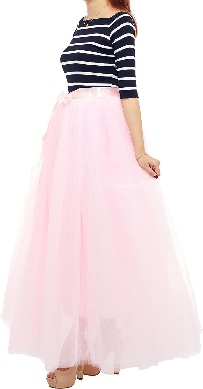 7 Layered Women's Eelastic Waist Tulle Skirts ALine Floor Length Evening Party Half Dress