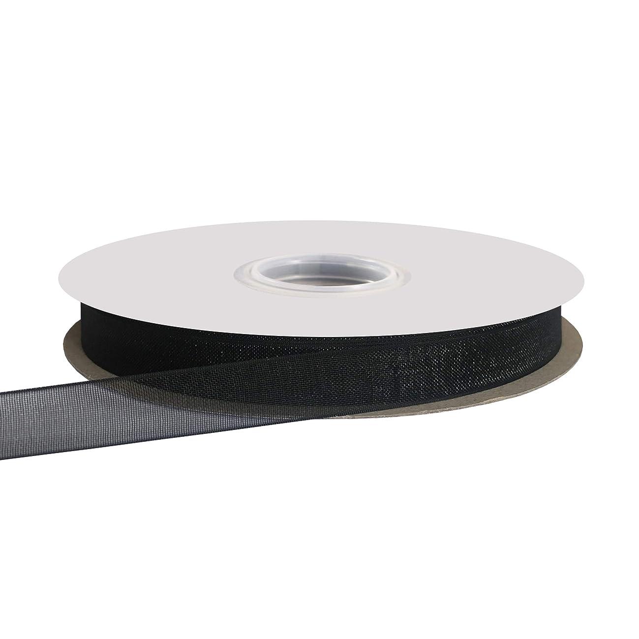 Kailin 1/4 inch Wide Shimmer Sheer Organza Ribbon 50 Yards Black