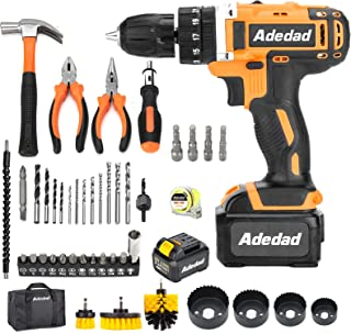 Adedad Electric Drill 48 pcs 20V Cordless Drill with Two...