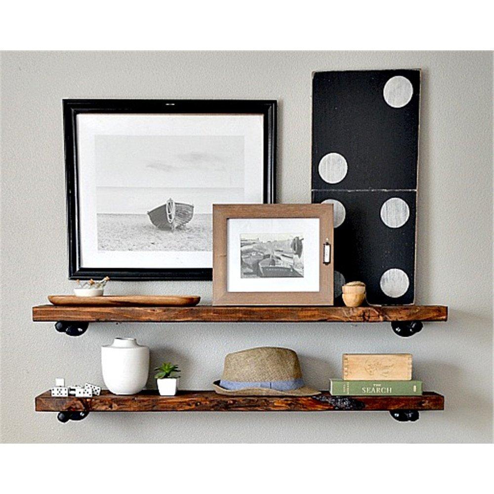 Sepia paredes, mampara de madera un campo estantería de pared de tubos de hierro 80*20*3cm soporte,: Amazon.es: Hogar
