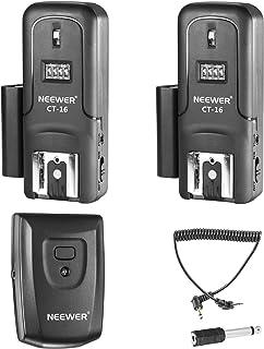 Neewer Set Disparador 16 Canal Inalámbrico Flash Speedlite RadioIncluye (1) Transmisor (2) Receptores Compatible con Canon Nikon Pentax Olympus Panasonic Cámaras DSLR(CT-16)