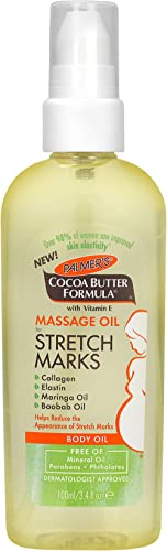 Palmer's Cocoa Butter Formula Massage Oil for Stretch Marks and Pregnancy Skincare, 3.4 Ounces