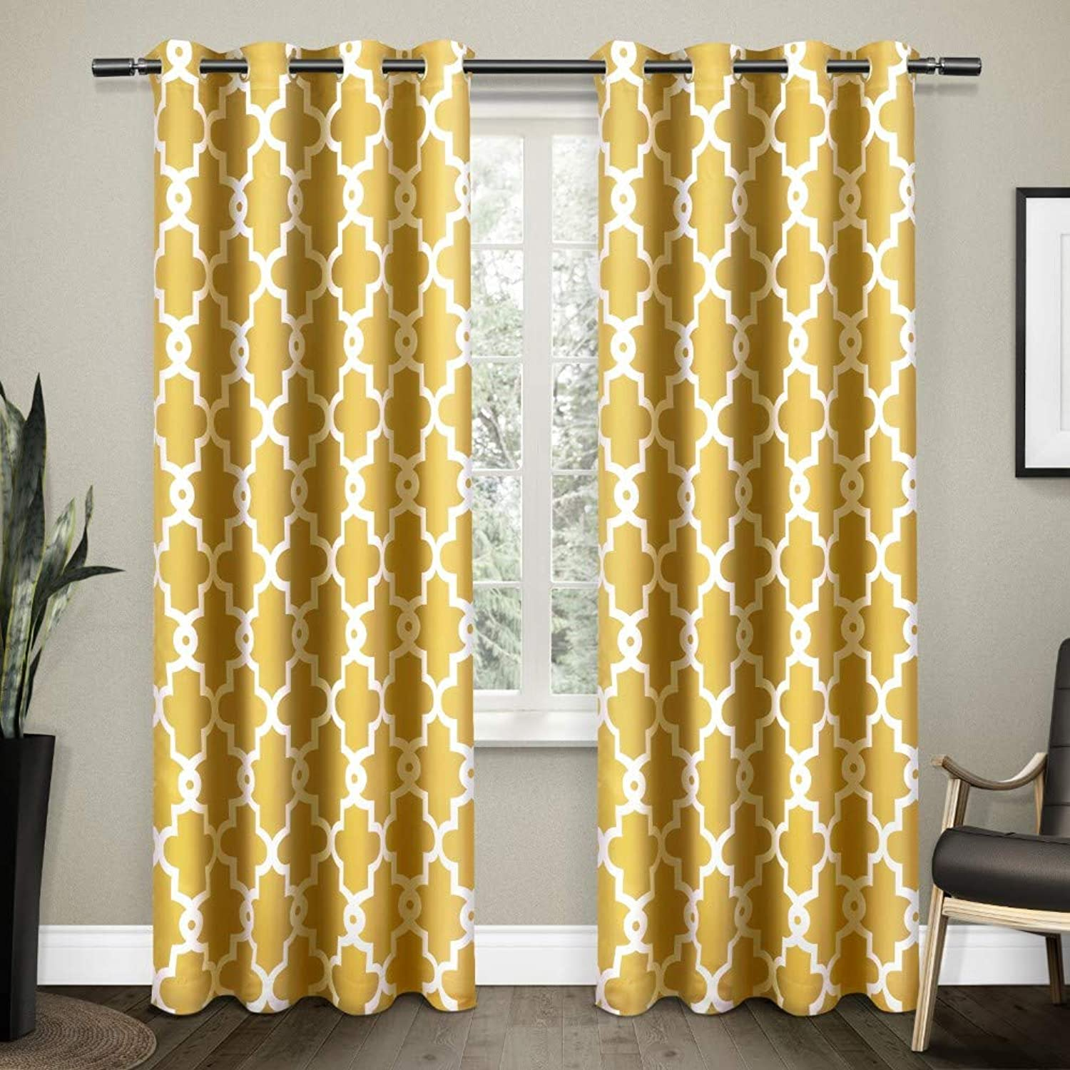 Exclusive Home Curtains Ironwork Sateen Woven Blackout Window Curtain Panel Pair with Grommet Top, 52x108, Sundress Yellow, 2 Piece