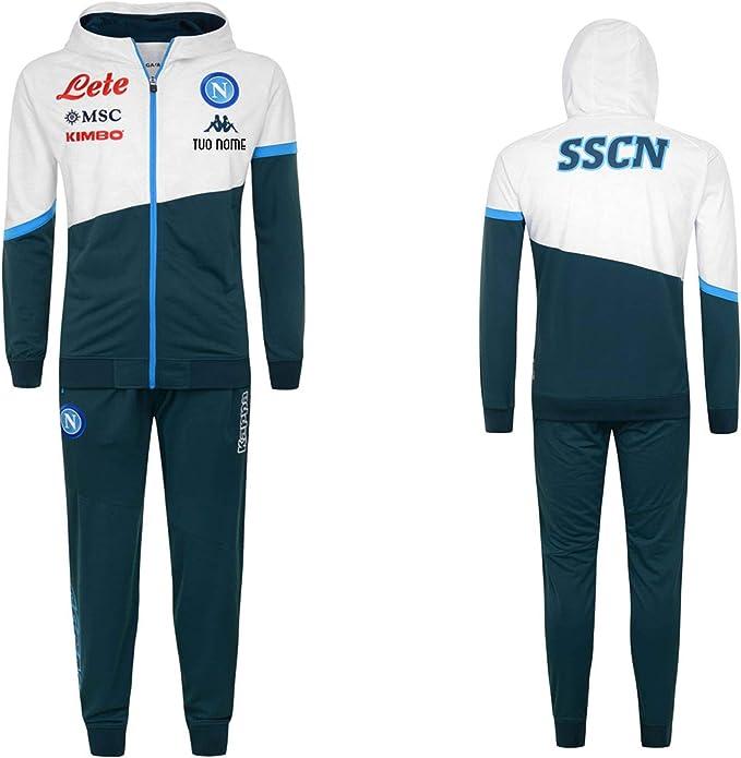 MAESTRI DEL CALCIO Tuta RAPPRESENTANZA Cappuccio Bianco Verde SSC Napoli 2020/2021 Personalizzata Personalizzabile (Vestibilita' Slim)