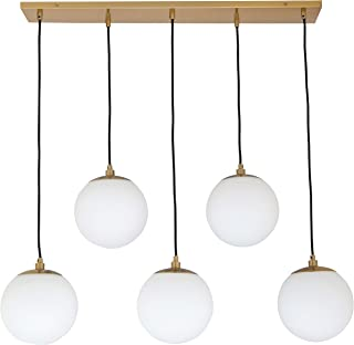Rivet Eclipse Mid Century Modern 5-Globe Hanging Ceiling Pendant Chandelier Fixture - 30 x 12 x 36 Inches, Brass with Frosted Glass Globes