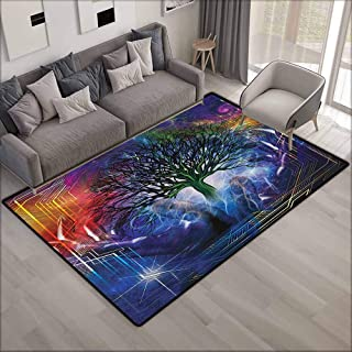 Collection Area Rug,Nature Human Hand Grabs a Leafless Tree Vitality Symbol Modern Hippie Karma Artisan Theme,Children Crawling Bedroom Rug,4'7
