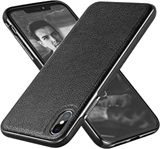DIACLARA iPhone Xs Max Case Leather Black compatible with 2018 Apple 6.5'' Slim Soft Cover Electroplating Luxury Stylish Sleeve Ultra Thin Bumper Anti-Slip Scratch Resistant Cases for Men (Black, 6.5)