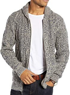 Mens Shawl Neck Cardigan Sweater Cable Knit Zip Up Closure Lightweight Jacket Outerwear