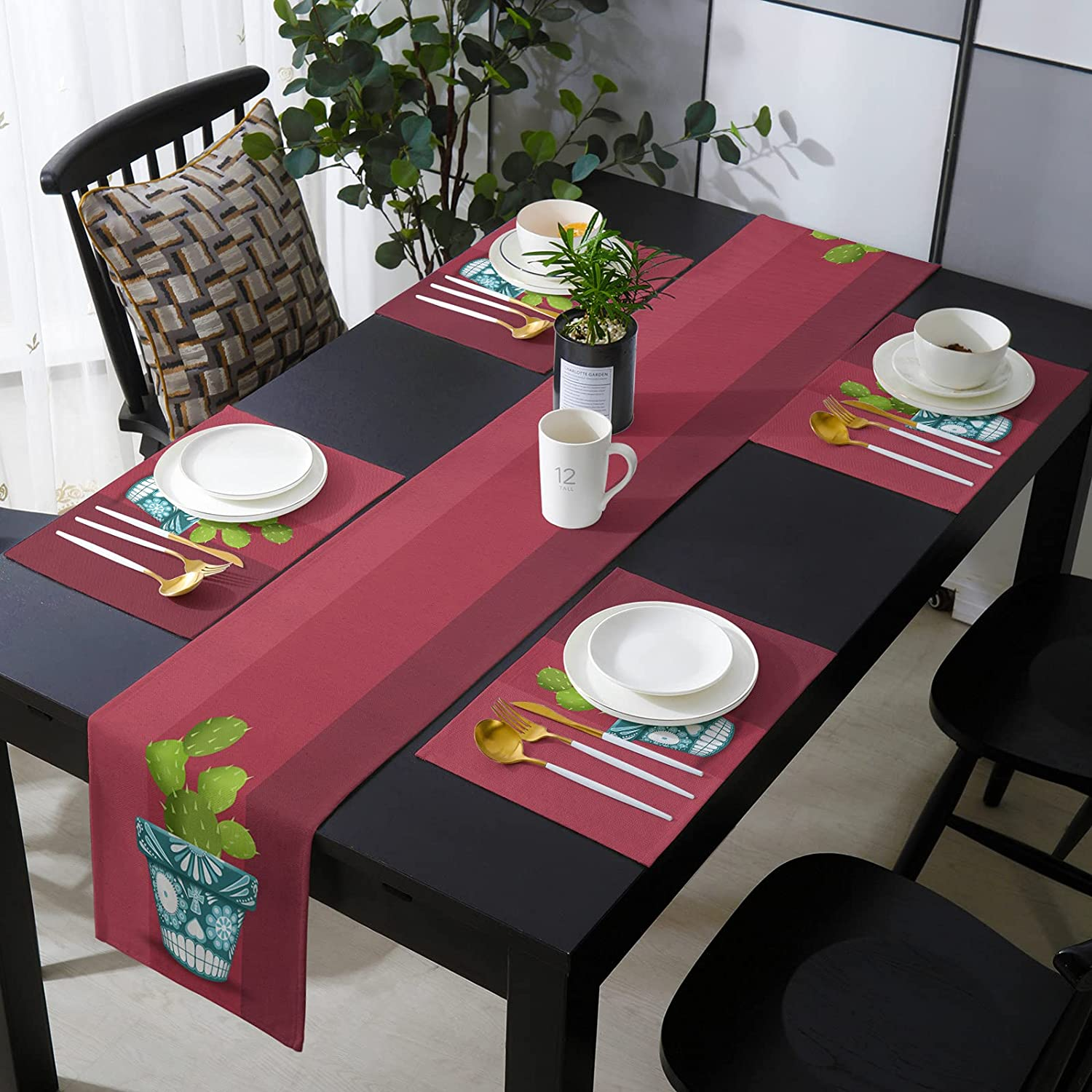 COLORSUM Burlap Table Runner Placemats Set Mexican of De Day The Baltimore Mall Factory outlet
