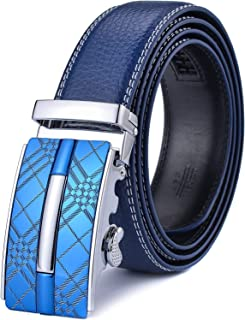 Autolock Men's Leather Ratchet Dress Belts with Automatic Buckle