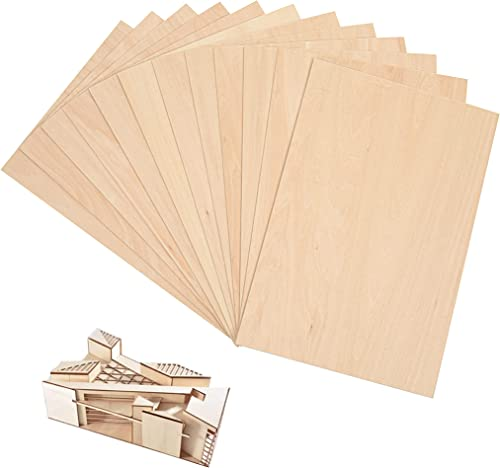 """discount (12-Pack) 12""""x8""""x1/16"""" Unfinished Basswood Sheets for Crafts - 1.5mm Thick Thin Plywood Sheets - Easy to Cut outlet sale and Use - sale Perfect for Architectural Models - Natural Color Basswood with Smooth Surface online sale"""