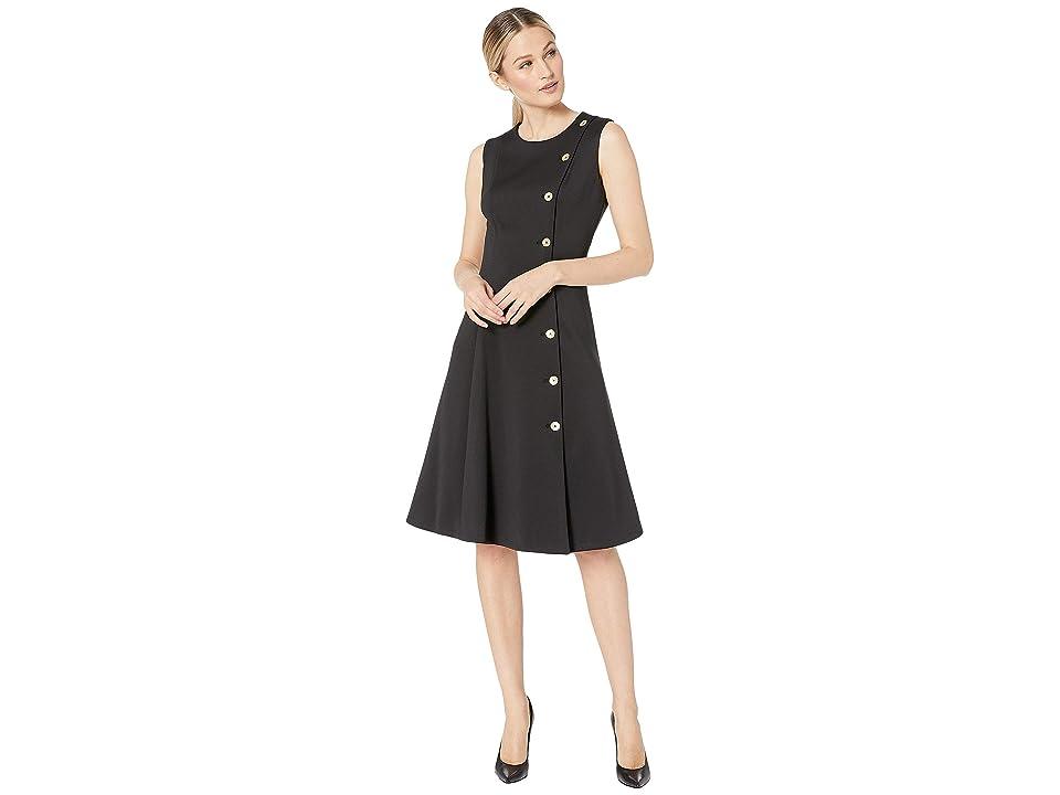 Calvin Klein A-line dress With Button Detail (Black) Women