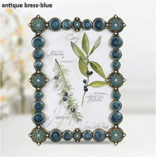 European Shaped with White Beaded and Jeweled 4x6 inches Metal Frame,Antique Brass Blue,8x10 inches