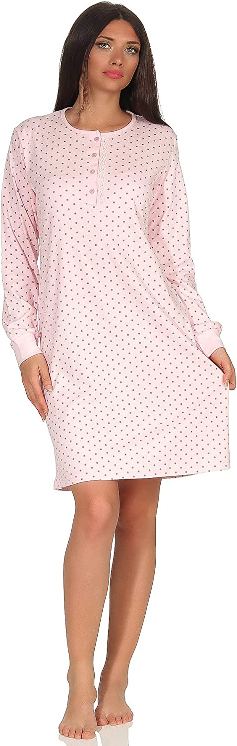 Warm Cozy Women's Nightgown Dot Henley Pattern - OFFer Nightshirt OFFicial site Neck