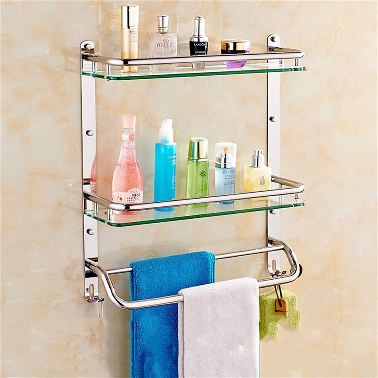 Bathroom Shelf Stainless Steel Bathroom Shelf Glass Bathroom Wall mountings Safety Rounded Corners (color   51  56CM)