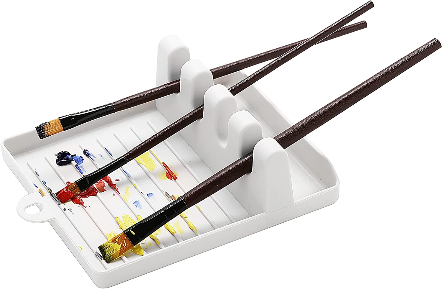 Paint brush holder for large paint brush rest with 5 slots suitable for watercolor,oil,acrylic painting party