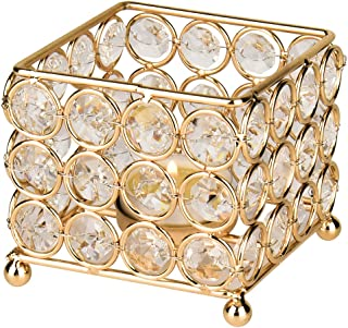 Autai Gold Crystal Candle Holder for Wedding Centerpieces Candlesticks Birthday Party Dining Table Candlelight Home Decoration (Square-Gold)