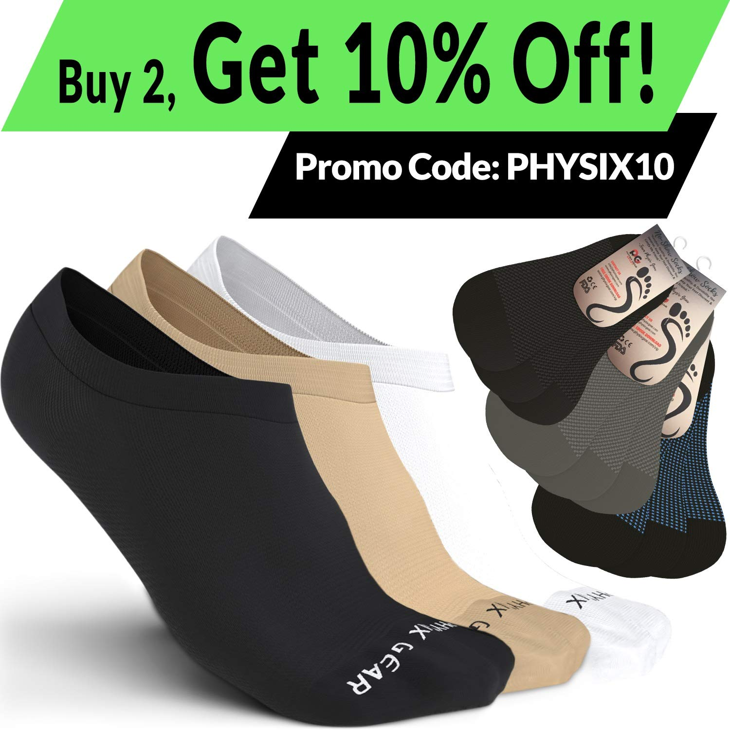 Physix Gear Sport Calcetines Invisibles Antideslizantes y ...