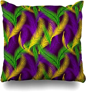 KJONG Nature of Palms Color of Mardi Gras Zippered Pillow Cover,16 x 16 inch Square Decorative Throw Pillow Case Fashion Style Cushion Covers(Two Sides Print)