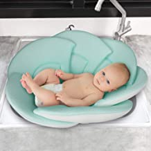 Organic Baby Bath Pillow - Konjac Sponge Included, Blooming Flower for Infant Bathing in Sink, Bathtub or Plastic Bather to Cushion Their Newborn Skin.
