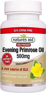 Natures Aid Evening Primrose Oil, 500 mg, 120 Softgels (Pure Cold Pressed Evening Primrose Oil, Omega-6 Gamma Linolenic Acid, Made in the UK)