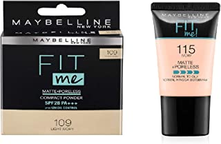Maybelline New York Fit Me Compact - Shade 109 Light Ivory, 8g + Maybelline New York Fit Me Foundation - Shade 115 Ivory, ...