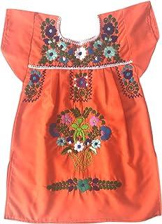 Vestito estivo per ragazza - vestito per bambina 1 anno - vestito di fiori ricamati - vestito messicano - vestito arancion...