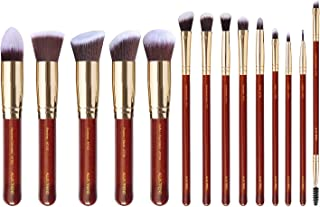 ALUX TREND Makeup Brushes Powder brush Foundation Blending Concealers blush Eye Shadows eye liner 14 Pcs makeup brush set Premium soft synthetic bristles. [Wine Red]