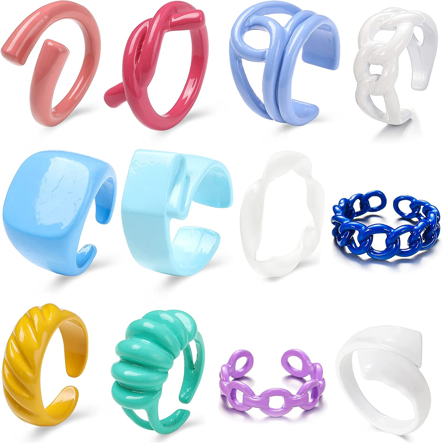 Chunky Rings Colorful, Trendy Resin Acrylic Open Stackable Finger Knuckle Y2K Rings for Women