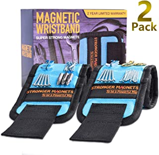 Magnetic Wristband, 2 Pack Upgraded Stronger Magnetic Tool Belt Super Strong Magnets, Best Gifts for Men, Dad, Father, Husband, DIY Handyman, Wrist Tool Holder for Holding Screws, Nails, Drill Bits