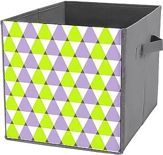 Panier de rangement pliable en toile avec motifs géométriques et triangles violets et verts - Grande capacité - Panier de ...
