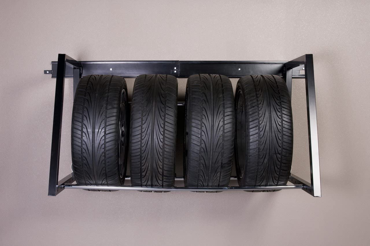 HyLoft 01000 Heavy Duty Adjustable Garage Wall Multi-Tire Rack Storage, Black - Garage Shelves -
