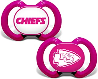 Baby Fanatic NFL Legacy Infant Pacifiers, Kansas City Chiefs Pink, 2 Pack