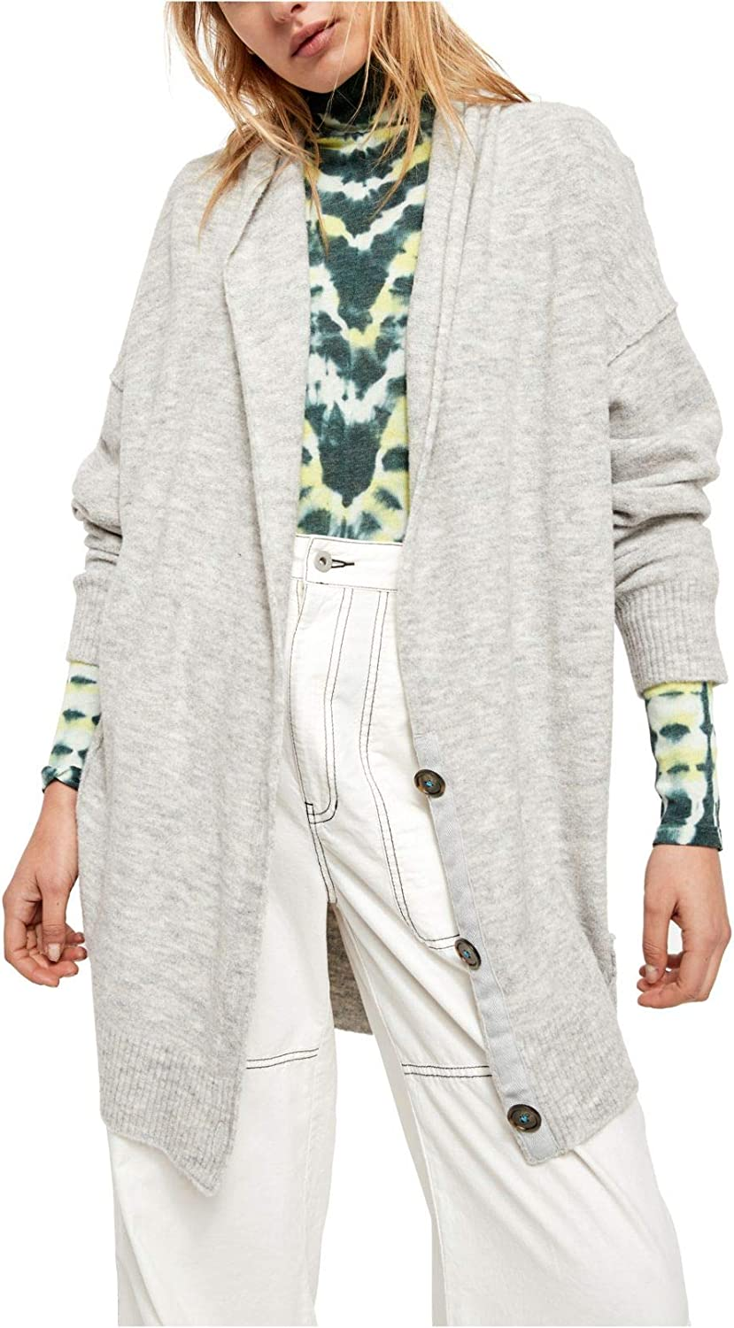Free People Dallas Mall Womens Eucalyptus Ribbed Long Sleeves Trim Cardigan Reservation