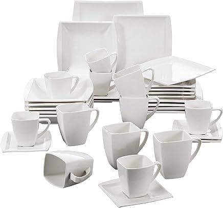 Preisvergleich für MALACASA, Serie Blance, 36 TLG. Cremeweiß Porzellan Geschirrset Kombiservice Tafelservice mit je 6 Becher, 6 Kaffeetassen, 6 Untertassen, 6 Dessertteller, 6 Suppenteller und 6 Flachteller