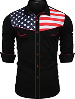 Men's Casual American Flag Button Down Shirts Slim Fit Long Sleeve Shirt