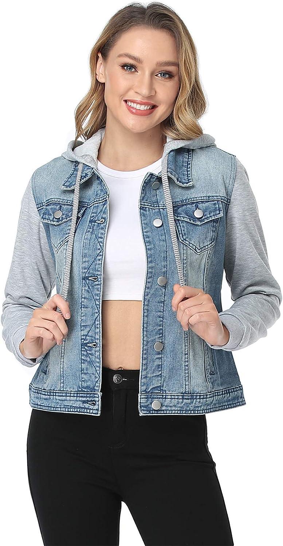 MISS MOLY Cheap bargain Women's Layered Dallas Mall Drawstring Jackets Casual Denim Hoodie