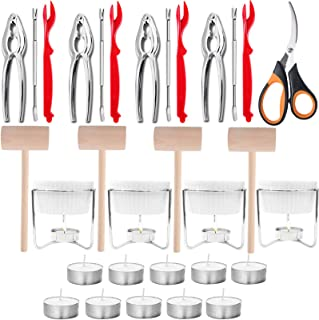 Artcome 31 Pcs Seafood Tools Set includes 4 Crab Forks, 4 Lobster Crab Crackers, 4 Lobster Shellers, 4 Butter Warmers, 4 L...