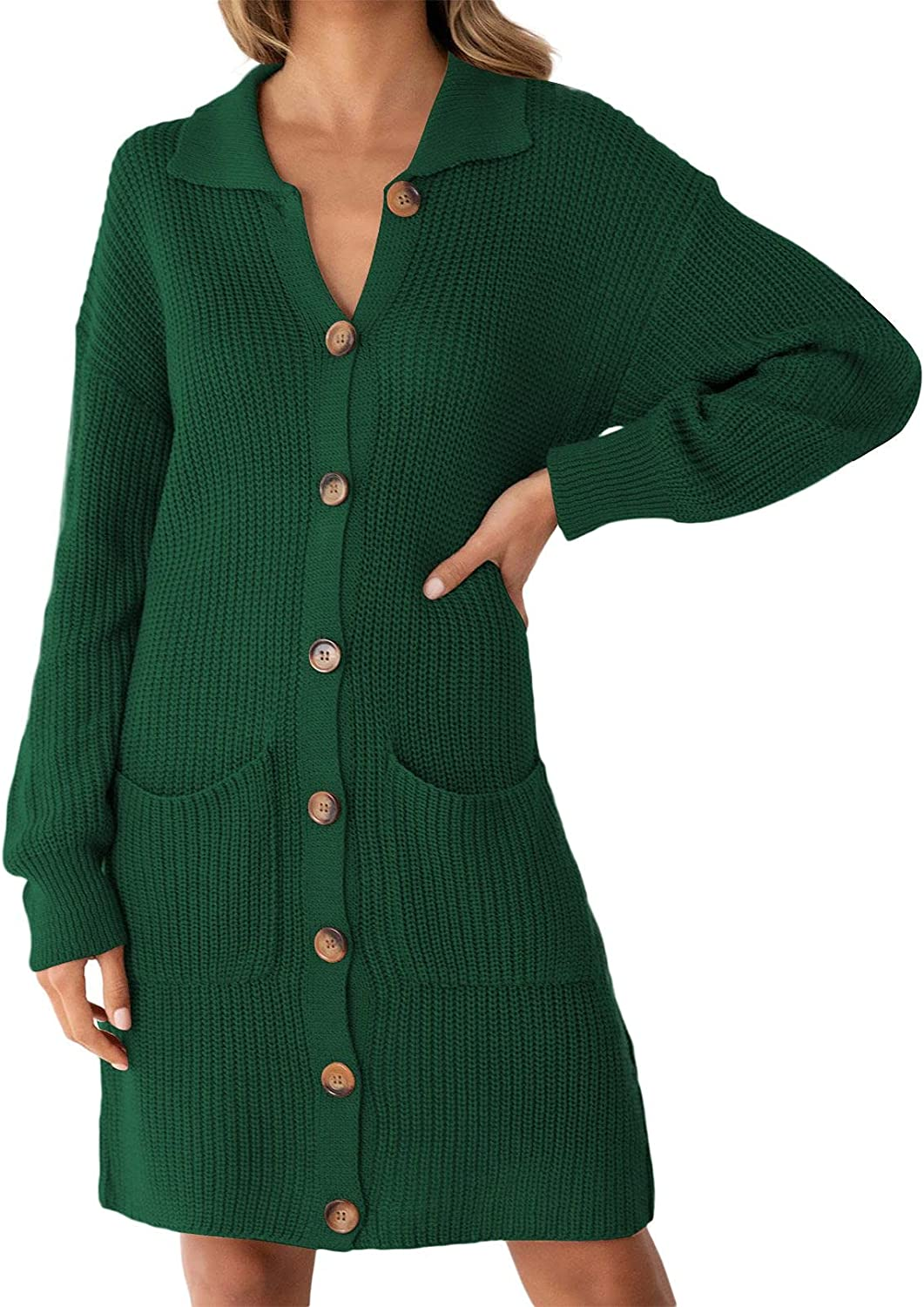 Cutiefox Women's Long Sleeve Button Down Open Front Knit Cardigan Sweater Dress with Pockets