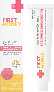 First Honey Wound Healing Ointment 0.5 oz | 100% Active Leptospermum | Fast Relief & Skin Repair | Manuka Honey from New Zealand Antibiotic Free Burn Care, Scar Gel, Dressing Aid