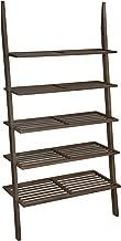 VASAGLE 5-Tier Ladder Shelf, Bamboo Bookshelf and Plant Stand, Spacious Storage for Living Room Bedroom Balcony, Walnut ULLS15BR