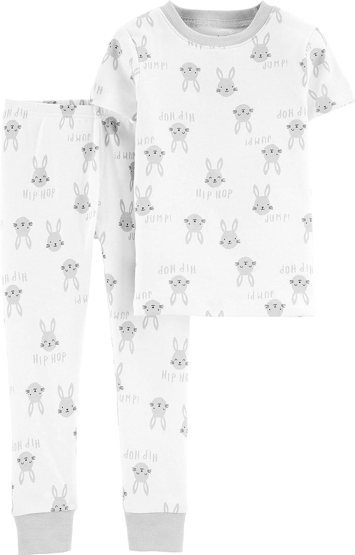 Girls 2 Piece Snug Fit Cotton Bunny Pajamas, 6 Months White