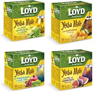 Loyd Yerba Mate Tea Bags Assorted Flavors, Bundle of 4
