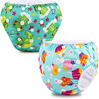 Phogary Baby Snap Reusable Absorbent Swimsuit Diaper (2-pack for 6.6-33lbs)