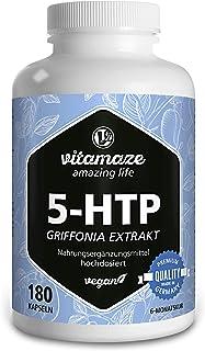 Vitamaze® 5-HTP 200mg Fuerte Cápsulas de Extracto de Semillas de Griffonia, 180 Cápsulas Vegano por 6 Meses, Naturales Ingrediente Activo Puro de Semillas de Frijol Negro, sin Aditivos Innecesarios